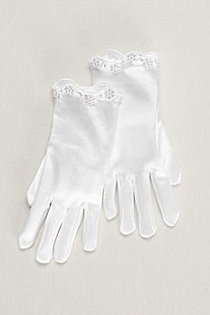 Ariel Girls Satin Beaded Scallop Gloves 3GLDS211MW