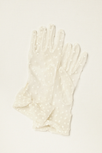 Greatlookz Sheer Polka Dot Bow Wrist Length Gloves 3GLDS7779B