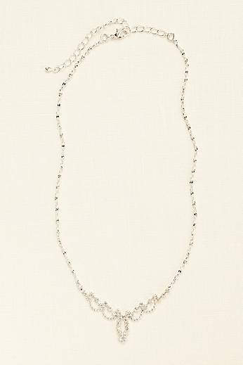 Mini Delicate Scalloped Necklace with Crystals 400765N001