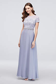Long A-Line Cap Sleeves Formal Dresses Dress - Cachet