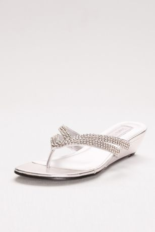 Tango Low Wedge Crystal Sandals David S Bridal