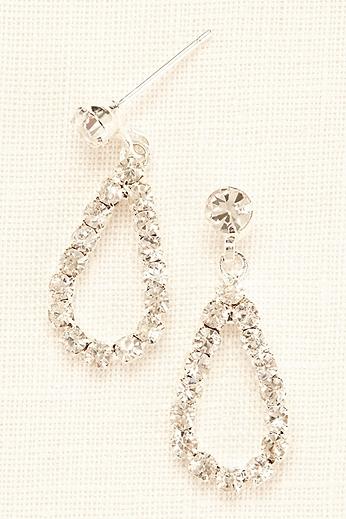 Mini Open Tear Drop Crystal Earrings 405542E001