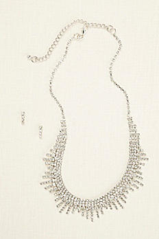 Layered Fringe Necklace and Earring Set 405546N001