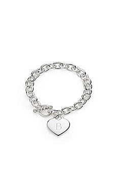 Personalized Silver Plated Heart Link Bracelet 41094