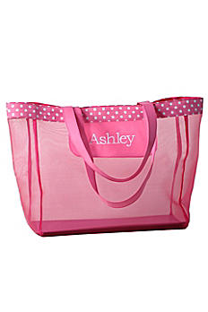 DB Exc Personalized Pink Polka Dot Mesh Tote Bag 41181177
