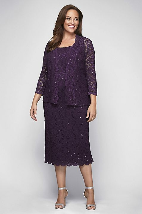 Sequin Lace Plus Size Cocktail Dress with Jacket   David\'s Bridal