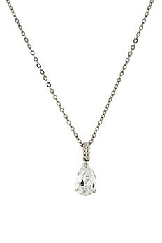 Cubic Zirconia Teardrop Pendant Necklace 41419