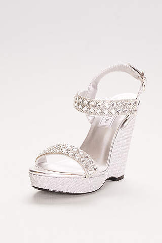Touch Ups Grey Sandals (High Platform Wedges with Crystal Embellishments)