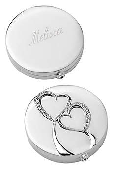 Personalized Silver Twin Hearts Compact
