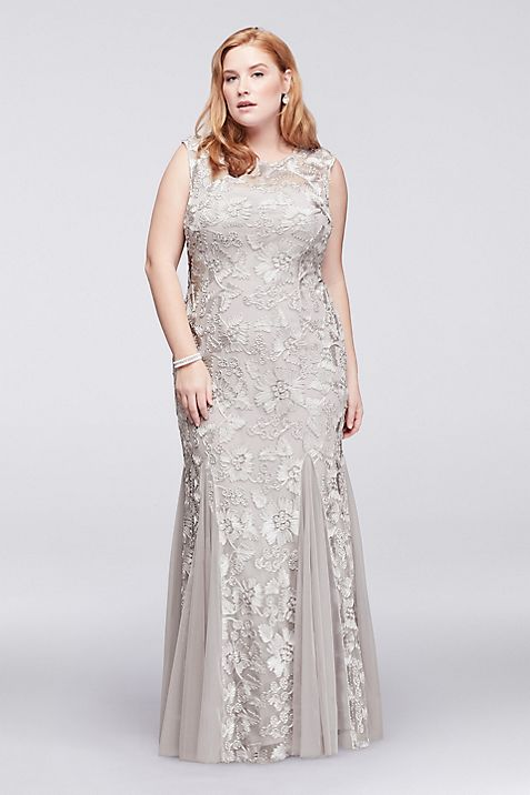 Embroidered Tulle Plus Size Dress with Godets | David\'s Bridal