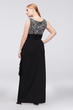 Glitter knit and jersey plus size gown and jacket david for Jersey knit wedding dress