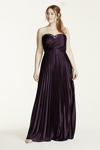 Crystal Embellished Pleated Strappy Back Dress 4220106W