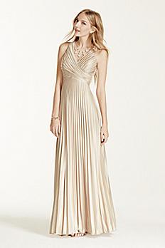 Sleeveless V-Neck Pleated Dress with Illusion Back 422582