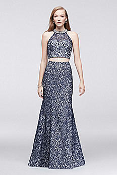 Metallic Lace Two-Piece Dress with Beaded Neckline 4319LV8S