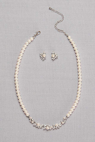 Pearl And Cubic Zirconia Necklace Earring Set