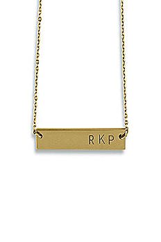 Personalized Gold Horizontal Rectangle Necklace 4485