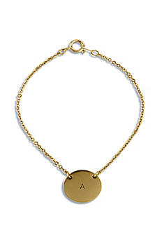 Personalized Matte Gold Circle Tag Bracelet 4489