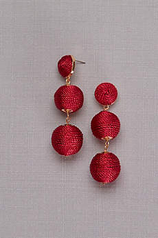 Thread-Wrapped Orb Drop Earrings