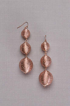 Metallic Thread-Wrapped Orb Drop Earrings