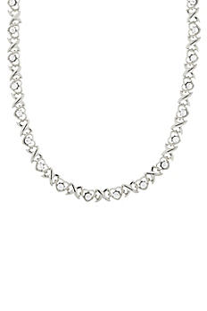 Crystal Heart Link Collar Necklace 46916