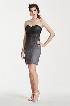 Strapless Chevron Ombre Glitter Dress 47998