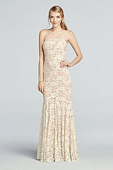 Strapless All Over Sequin Lace Prom Dress 48286