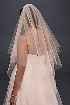 Two-Tiered Whisper Pink Fingertip Veil 492B