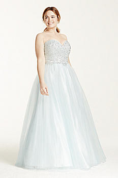 Beaded Prom Dress with Tulle Ball Gown Skirt 50652DBW