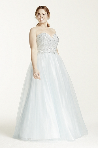 Strapless Heavily Embellished Bodice Ball Gown 50652DW