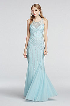 Illusion Neckline Beaded Strappy Back Prom Dress 50811