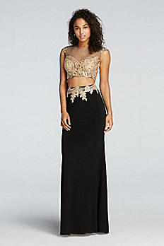 Beaded Two Piece Illusion Prom Crop Top and Skirt 50845