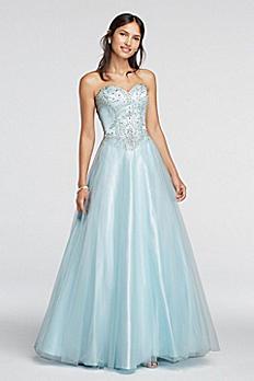Crystal Embellished Drop Waist Tulle Prom Dress 50907
