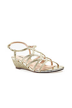 Crisscross Strappy Low Wedge Sandals OPULENT