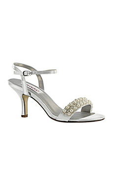 Dyeable Mid Heel Sandals with Pearl Strap 51216