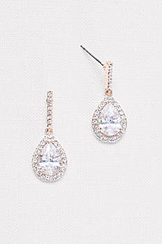 Pear Solitaire Pave Earrings 51579BDA