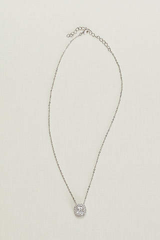 Bridal wedding necklaces davids bridal cubic zirconia solitaire pave halo necklace junglespirit Image collections