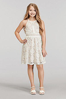 Short Glitter Lace High Neck Dress with Tie Back 52018