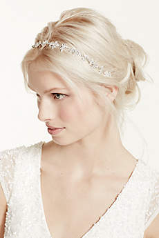 Ribbon Tie Headband with Crystal Floral Design