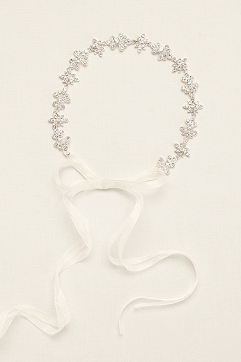 Ribbon Tie Headband with Crystal Floral Design 525