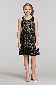Short Sleeveless Sequined Lace Dress 53100