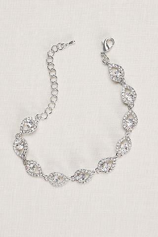 Bridal wedding bracelets bangles davids bridal teardrop and pave link cubic zirconia bracelet junglespirit Choice Image