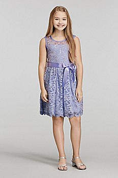 Short Allover Sequined Lace Dress with Ribbon Belt 54012