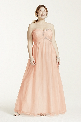 Strapless Beaded Bodice Ball Gown 54665W