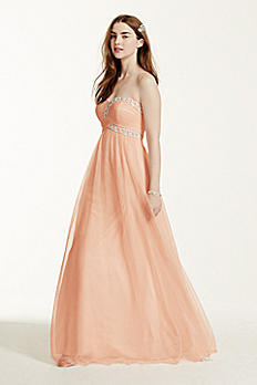 Strapless Beaded Bodice Ball Gown 54665