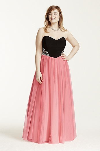 Strapless Sequin Side Cutout Ball Gown 55006W