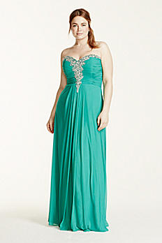 Strapless Crystal Embellished Ruched Bodice Dress 55034W