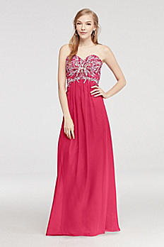 Strapless Beaded Chiffon Prom Dress with Tie Back 550DB