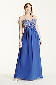 Strapless Jewel Encrusted Tie Back Chiffon Dress 550DW