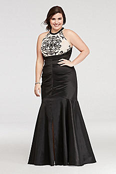 Halter Ruched Prom Dress with Embroidered Detail 55272W