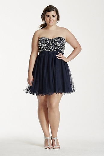 Crystal and Pearl Beaded Bodice Short Tulle Dress 55296W